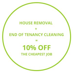 Image consisting of one of the Cambridge removal company's discount offers 'House Removal + End of Tenancy Cleaning = 10% Off The Cheapest Job'.