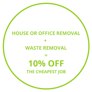 Image consisting of one of the Cambridge removal company's discount offers 'House or Office Removal + Waste Removal = 10% Off The Cheapest Job'.