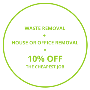 Image consisting of one of the Cambridge waste removal company's discount offer 'Waste Removal + House or Office Removal' = 10% Off The Cheapest Job'.