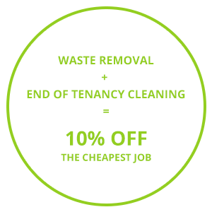Image consisting of one of the Cambridge waste removal company's discount offers 'Waste Removal + End of Tenancy Cleaning = 10% Off The Cheapest Job'.