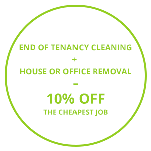 Image consisting of one of this Cambridge moving services company's discount offers 'End of Tenancy Cleaning + House or Office Removal = 10% Off The Cheapest Job'.