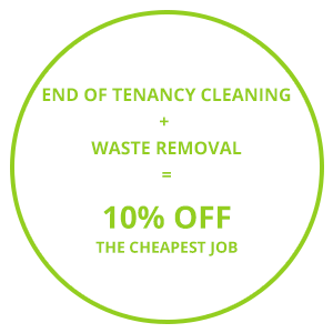 Image consisting of one of the Cambridge removal services company's discount offers 'End of Tenancy Cleaning + Waste Removal = 10% Off The Cheapest Job'.